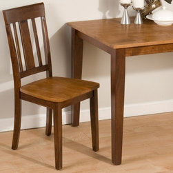 Jofran Kura Canyon Dining Chairs - Set of 2 - Slide the Jofran Kura Canyon Dining Chairs - Set of 2 up to your kitchen or dining table - or up to a desk, into the entryway, or wherever you need a spare chair. Crafted with durable solid hardwood and strengthening veneers in a dual-tone espresso/cinnamon finish, these two armless chairs boast high backs and comfortably contoured seats.About Jofran FurnitureJofran is a seller of fine home furnishings based in Norfolk, Mass. Launched in 1986, Jofran is known for the high-quality materials and meticulous methods that go into producing its products. Jofran furniture is easy to assemble and includes various styles from all around the world, making it easy to find a piece that suits your home decor.