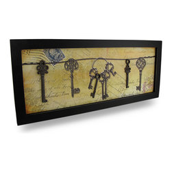 Zeckos - Framed Postcard Motif Metal Antique Keys Wall Hanging - Adding a bit of vintage charm to your home is simple with this postcard and antique key inspired wall hanging. It features nine decorative antique keys, three of which are made from metal, on a printed postcard themed background. Crafted from wood and measuring 20 inches wide, 8.5 inches high (51 by 22 cm), and 1/2 inch deep, it's pre-framed and ready to hang with an attached sawtooth and wire hanger on the back. It'll add classic styling anywhere in your home or office, and makes a wonderful gift sure to be admired