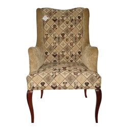 WingBack - Top Dog Chair - Top Dog is a stately addition to your home. Inspired by the royal Poncelot Dog, this piece was reupholstered with a Belgian tapestry from the Goeblins Art collection and beautifully accented with a J Ennis Fabrics Polyester from their Royal Sand.