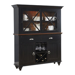 Liberty Furniture Abbey Court Traditional Buffet w/ Hutch in Black, Cherry