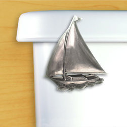 Sailboat Toilet Flush Handle - Our sailboat is sure to please all nautical lovers. Our vessel is offered in chrome and satin pewter and is sure to capture the wind, for destinations left only to the imagination.