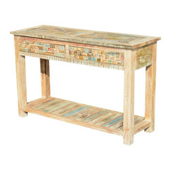 "Sierra Living Concepts - Reclaimed Wood Pastel Console Hall Table with Drawers - Console tables fit beautifully behind sofas, in hallways and against windows. Our solid hardwood Paint Box 47.5"" Hall Table can transform a bland corridor or entryway into an elegant space. The handmade console is built with reclaimed wood from Gujarat. You might be surprised to learn that the beautifully colored surfaces are the original treatments, naturally aged over time."
