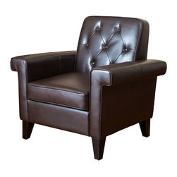 Great Deal Furniture - Menlo Button Tufted Club Chair, Brown Leather - When looking for a club chair that will suit your unique taste, look no further than the Menlo chair. This chair features square edges that give it a modern feel. The backrest is button tufted, and the armrests square edges protrude for added width and comfort. The combination of modern design and classic elements, ensures that you will enjoy the look and feel of this piece.