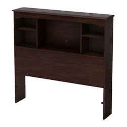South Shore - South Shore Nathan Twin Bookcase Headboard in Havana Finish - South Shore - Headboards - 3339098 - In a rich Havana finish this twin 39-inch bed headboard's transitional design features sculpted lines and includes several practical storage spaces next to your child's bed.