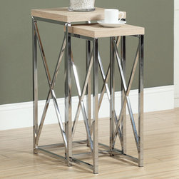 Monarch - Natural Reclaimed-Look/Chrome Metal 2Pcs Plant Stands - With its natural reclaimed wood-look tops, this 2 piece plant stand set gives an exceptional look to any room. Its original criss-cross chromed metal base provides sturdy support as well as a contemporary look. Use this multi- functional set to place your favorite plant, or decorative piece. This set will be a sure eye catcher!