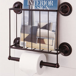 Estate Oil Rubbed Bronze Finish Magazine Rack/ Toilet Paper Holder - This would be great in a guest bathroom.