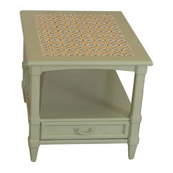 Sage Green End Table with Mexican Tile Inlay - Quirky and cute, this sage green side table is on another level with its Mexican tile-inspired inlay top. Would make a terrific accent piece.  Made of solid wood with a drawer, for extra storage.