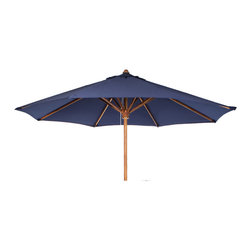 All Things Cedar - Teak Market Table Umbrella - Blue Canopy - Our Market Umbrella is made from premium solid Teak. The additional crown of fabric at the top is called a wind vent. This unique design allows for wind gusts to escape through the vent, thus making it a very stable umbrella. Comes in 3 colors. Item is made to order.