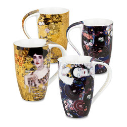 Konitz - Set of 4 Gustav Klimt Art Mugs - Adele Bloch Bauer & Jungfrau - This set of art mugs highlights the work of 20th-century Austrian artist Gustav Klimt. Klimt's 'Golden Phase' was marked by his use of gold leaf and mosaic-like paintings. Two such works include the portrait 'Adele Bloch Bauer' and 'Die Jungfrau', pictured on these mugs.