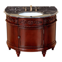 Bosconi - Single Vanity - Yes, your powder room can make a statement! Simply add this classic oval wood vanity with its antique red finish, and you can't go wrong. A rich, dark, marble countertop and antique brass hardware add to its appeal.