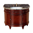 "Bosconi - 42"" Bosconi T-3608 Single Vanity - Yes, your powder room can make a statement! Simply add this classic oval wood vanity with its antique red finish, and you can't go wrong. A rich, dark, marble countertop and antique brass hardware add to its appeal."