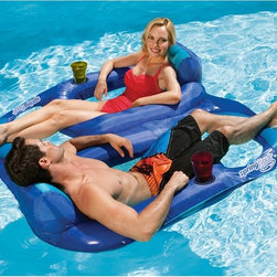 SwimWays - SwimWays Spring Float Recliner Duet - 13330 - Shop for Floats from Hayneedle.com! Conversation and comfort make for a great combination for you and a friend relaxing atop this SwimWays Spring Float Recliner Duet. The recliner features an extended backrest for maximum comfort on each side of the floating device -- plus cup holders so both riders can enjoy their favorite beverage. Also included is a sturdy polyester cover that protects the inflation chambers. Twists and folds for easy storage and transport.About SwimWaysBased in Virginia Beach VA SwimWays is a leader among recreational water products. Mindful of safety and care of kids SwimWays help teach kids to swim with innovative pool toys for little ones and the company is a corporate partner and major contributor to Operation Smile. SwimWays' mission is to provide entertaining fun products that are the best value quality and style. They're making free time more fun through innovation.