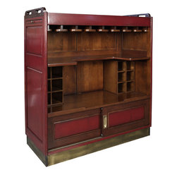 """Inviting Home - Casablanca Bar (red) - Casablanca bar in antiqued red finish. This beautiful bar is made of solid wood; cocktail and wine glasses slide into wood slots underneath bar top...; 41""""W x 20-1/2""""D x 43-1/2""""H; Casablanca bar in antiqued red finish. This beautiful bar is made of solid wood; cocktail and wine glasses slide into wood slots underneath bar top. Bar has sliding doors on the bottom and hidden whiles. Bar top inlaid with two glass panels so you can display photos menu or drinks; Brass elbow and foot bar add authenticity wine rack * additional wine racks you see in the Casablanca Bar are sold separately You love to hang out at Harry's Bar in Singapore with its long expanse of polished mahogany and stools brass rails to lean on and above all its Singapore Sling and Bloody Maries. Admit it this bar can't and shouldn't be replicated at home. In your home you want a simple fun unobtrusive piece of furniture easy to put away but also easy to roll into the center of the action. A bar should invite discourse (familial philosophical) and reminiscences. Home bar should support loudness but also stillness. This home bar exceeds imagination. Casablanca bar has wheels game boards (three) and a glass top that displays your baby-pictures or the snapshots from your latest tiger hunt. It also stores oodles of bottles and gear and wheels into tight corners."""