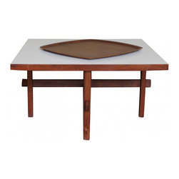 Coffee Table with Stretcher Construction - This is a gorgeous mid century wood coffee table with a white laminate top. Walnut.  Asian inspired stretchers. 30 inches wide and deep, 16 inches high. Laminate shows some wear in the form of light scuffing. Overall very good condition.