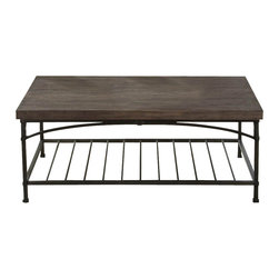 Liberty Furniture - Liberty Furniture Franklin 46x26 Rectangular Cocktail Table in Dark Wood - Industrial styling with a softer edge. Thick oak veneer top with a metal base in a dark patina. The metal base features arched accents. What's included: Cocktail Table (1).