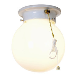 Premier - Globe 6 inch Ceiling Light with Pull Chain - White - AF Lighting 671338 Globe Ceiling Fixture, White Finish, 6in. D by 7in. H.