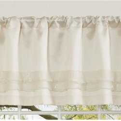 Lush Decor - Lush Decor Paloma Valance in Ivory - Curtain rod not included. Rod pocket slides onto curtain rod for installation. Dry clean. Single valance with lining. Faux silk and sheer voile. 100% Polyester. 84 in. L x 18 in. W (1 lb.)
