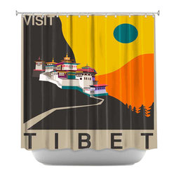 DiaNoche Designs - Shower Curtain Artistic - Visit Tibet - DiaNoche Designs works with artists from around the world to bring unique, artistic products to decorate all aspects of your home.  Our designer Shower Curtains will be the talk of every guest to visit your bathroom!  Our Shower Curtains have Sewn reinforced holes for curtain rings, Shower Curtain Rings Not Included.  Dye Sublimation printing adheres the ink to the material for long life and durability. Machine Wash upon arrival for maximum softness. Made in USA.  Shower Curtain Rings Not Included.