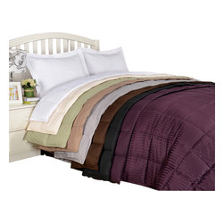 Bed Linens - All-Season Down Alternative Reversible Blanket, King/Cal-King, Black - This hypoallergenic down-alternative reversible blanket keeps you warm without weighing you down.
