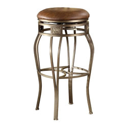 Hillsdale Furniture - Backless Faux Leather Swivel Stools in Bar & - Choose Seat Height: Bar HeightWith brown leather upholstery, the stool has an elegant look. Suitable for the study, den, and library, as well as the pub, it offers a handsome steel finish frame and a comfortable padded seat in faux leather. This stool has an exquisite design and a look of class. This Backless Montello Swivel Bar & Counter Stool offers tall seating when a bit more dignity is required. Available in two different heights to meet your needs, this stool will provide a beautiful yet handy place for you and guests to sit. * For residential use. Old steel finish (like dull silver pewter). Distressed brown faux leather thick padded seat cushion. Bar 30.5 in and Counter 26 in height. Counter Stools: 26H x 18W x 18D in (Seat Height: 26 in H). Bar Stools: 30.5H x 18W x 18D in (Seat Height: 30 in H)