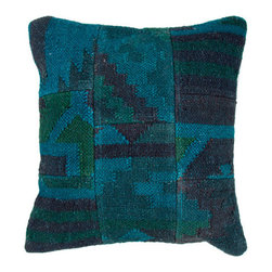 Jaipur - Bedouin Blue and Green 18-Inch Square Pillow - - The Bedouin collection of pillows is hand woven from wool and jute. Patterns are inspired by traditional kilim patterns which have been recolored and updated. The look is rustic and authentic and designed to be mixed and matched with the coordinating range of poufs and rugs  - Cleaning and Care: Remove the throw pillow's cover if it is removable. Wash the cover separately from the pillow. Pre-treat badly soiled or stained areas on the pillow cover with a color-safe prewash spray. Rub the spray into the stain with a damp sponge. Wash the pillow cover or the whole pillow on a gentle-wash cycle in warm water with a very mild detergent. Detergent for delicate fabrics or baby clothes is usually suitable. Remove the pillow or pillow cover as soon as the washing machine has ended the cycle and has shut off. Hang the pillow or cover up to dry in a well-ventilated area. If the care label specifies that the item is dryer-safe place the pillow or pillow cover in the dryer and tumble dry on low heat. Fluff the pillow once it is dry in order to maintain its form. Don't use the pillow until it is completely dry. Damp pillows will attract dirt more easily  - Construction: Handmade  - It is Sustainable Jaipur - PLC100061