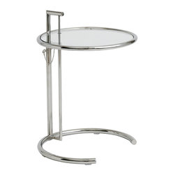 "Nuevo Living - Largent Height Adjustable End Table by Nuevo - HGGC117 - The Largent end table is based of the world famous modern classic Eileen Grey Table.  This is a high end reproduction with 1"" tube steel frame with chrome finish."