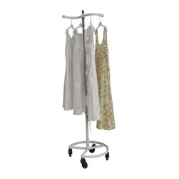 """Quality Fabricators - Personal Valet Garment Rack - patented design single rail adjustable White - The Personal Valet Clothes Rack is a patented, height adjustable rack that can hold up to 50 garments.  Made in the USA, it uses the same heavy duty materials and rugged craftsmanship that gives it it's industrial strength and appeal, yet it's light and easy to move around. It's unique design allows for it to fit up against any outward corner.  This is an ideal clothes rack that is perfect for hanging clothes where space is a premium whether it be in the kitchen, an office, or at home.  It has  a circular shaped base, four 3"""" casters and a 63"""" upright with a single S-shaped hang rail."""
