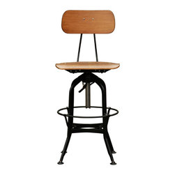 INDUSTRIAL STOOL - material : plywood seat in natural finish with adjustable base