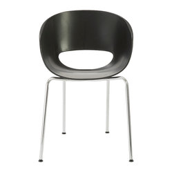 Michele Side Chair (Set Of 2)-Black/Chrome - This whimsical side chair features a unique cutout in the backrest that almost looks like a cheerful smile. Take a seat in its comforting cocoon and see if it inspires you to grin from ear to ear.