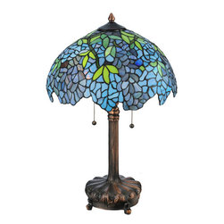 "Meyda Tiffany - Meyda 25""H Tiffany Wisteria Table Lamp - Cascading blossoms in variegated hues of Blue and Gray art glass with Spring Green leaves were favored subjects of the Louis Comfort Tiffany Studios. This beautiful Wisteria stained glass shade with an undulating border is paired with a handsome lamp base in a warm Mahogany Bronze finish."