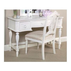 LC Kids - Reflections 3 Drawer Vanity Table in Antique Off-White Finish - Make her feel like a storybook princess with this lovely Reflections vanity table.  Every young lady will love sitting at this fabulously feminine table to do her hair and make-up.  Serpentine-shaped front is highlighted with carved floral embellishments and gracefully tapered fluted legs.  For the crowning touch add the optional vanity mirror. Reflections Collection. Assembly required. Hardwood solids & veneers. 48 in. L x 20 in. W x 30 in. H (79.36 lbs.). 3 Drawers. Assembly Instructions - Table.