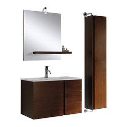 Adornus - Adornus SC-63-WEN Wenge Vanity Side Cabinet - Wenge Wall Mounted Side Cabinet 13 1/2 W X12 D'' X 63''H.