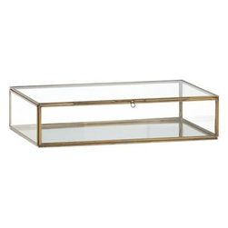 Clarus Large Brass Display Box - Clear glass framed in warm brass boxes up collectibles, necessities, treasures and trinkets with room for a view. Fill with soil and small plants for an unusual hothouse terrarium.