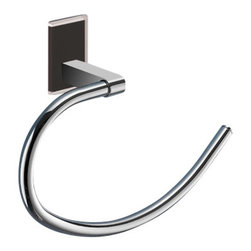 Gedy - Round Black Mounting Polished Chrome Towel Ring - Modern style towel ring made in chromed brass.