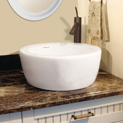 """DecoLav - DecoLav 1418-CWH White Classically Redefined 16-1/2"""" Round Ceramic - 16.5"""" Round Ceramic Vessel Lavatory Sink  Round, White Vitreous China For Above the Counter Use With Overflow Vertical Face That Slightly Tapers Outward Flat rim slopes toward basin  CSA Certified"""