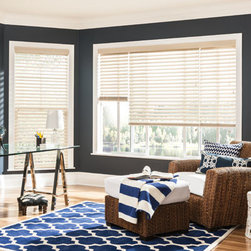 "2 1/2"" Double Beveled Composite Faux Wood Blinds. Free Samples and Shipping! - 2 1/2"" Double Beveled Composite Faux Wood Blinds - Buy with Confidence, Get Free Samples Today!Choose Bali 2 1/2"" Beveled Faux Wood Blinds from Blinds.com to bring an elegant, upscale look that mimics shutters to your windows. Select from 7 colors that will match popular paint colors and wood tones. Contoured slats are engineered to resist cracking"