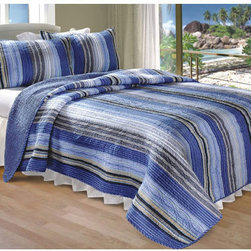 None - Brisbane Three-Piece Blue Striped Quilt Set - Update your bedroom's look with this contemporary quilt set. The quilt's elegant look features wavy streaks of blue,lime,and sand,bringing hints of a coastal paradise to the bedroom. It is made of cotton to keep you refreshed and comfortable.
