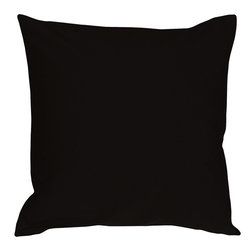 Pillow Decor - Pillow Decor - Caravan Cotton Black 16 x 16 Throw Pillow - Bold and beautiful, the Caravan Cotton 16 x 16 Throw Pillows are the ideal pillows for adding a simple splash of color to your decor. With 3% spandex added to improve durability and wash ability, these soft cotton pillows will provide long lasting comfort.