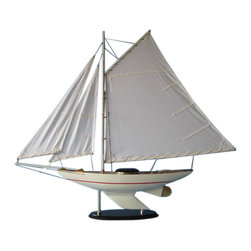 "Handcrafted Nautical Decor - Sunrise Sailing Sloop 40"" - Beach Bedroom Decoration - Not a Model Ship Kit"
