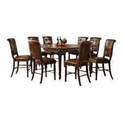 "Acme - 9-Piece Winfred Collection Cherry Finish Wood Counter Height Dining Table Set - 9-Piece Winfred collection cherry finish wood counter height dining table set with leather like padded chairs. This set features a counter height table with decoratively carved accents, 8 - side chairs with leather like padded back and sleigh style backs. Table measures 60"" x 42"" (60"" with 1 - 18"" leaf included) x 36"" H . Chairs measure 24"" H seat height. Some assembly required."