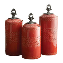 """Jay Companies - American Atelier Quatra Red Canister Set - Add both functionality and style to your kitchen with this Quatra Canister Set by American Atelier. Give your dry goods an upgrade by storing dry food and goods in this artistic canister, which will suit all of your kitchen storage needs. It will bring beauty to your countertop while hiding your goods and keeping it well within reach at the same time!               * Set of 3 * Dimensions: Large: 12.41"""" tall, Medium: 11.3"""" tall, Small: 10.4"""" tall. 4.5"""" in diameter. * Care: Hand wash * Includes rubber gasket on top to insure freshness"""