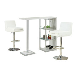 Monarch Specialties 3 Piece 48x16 Bar Table Set w/ Armless Swivel Barstools in W