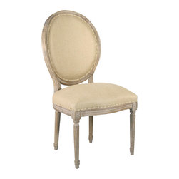"""Zentique - Zentique Furniture Medallion Hemp Side Chair - Fusing classic European motifs with rustic charm, Zentique's home decor and furnishing collection defines understated elegance. This Louis XVI-style Medallion side chair lends living rooms and dining rooms vintage-inspired design. Featuring a round back and stately, carved wood frame, the traditional seat is completed with a limed gray finish and natural hemp upholstery. Made from oak. 21""""W x 21""""D x 40""""H."""