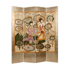 Harmony Garden Screen - Hand painted and hand carved, you can create your own 'Secret Garden' with this gorgeous four-panel screen. Use it as a decorative window shade if you have large windows and need a bit of privacy from the street.