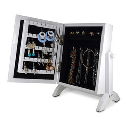 GLD - Jewelry Holder Jewelry Organizer Cosmetics Box Cabinet, White & Black - The Mini Style Mirror Jewelry Armoire is the perfect and fashion way to organize all your jewelry and accessories! Now you can store and organize all your jewlery and beauty essentails. No longer will mornings be a stressful hunt for matching earrings, bracelets, necklaces, now you will find them hanging at eye level. You will have fun adding your jewelry collection to this armoire. This item is MDF wood Material with painting,no halmful to health and environment. Small size design with free standing ,can put on your table