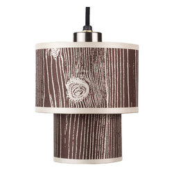 Lights Up! - Deco Mini Pendant Lamp - Bring in a graphic hint of nature with an iconic faux-bois print. The double-drum style, paired with the printed silk shade, is a playful touch for any contemporary home. Add a light bulb and hang this up to 96 inches for a pop of personality.
