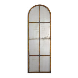 Uttermost - Amiel Arched Brown Mirror - Talk about rustic sophistication. Inspired by casement windows in old European mills and warehouses, this antiqued arched forged metal mirror will catch admiring gazes. Hang it in your hallway or lean it on the wall in the bedroom — anywhere you want to invite age-old elegance and romance into the picture.