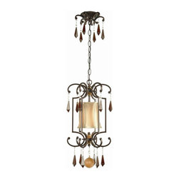 World Imports - Turin Cage 8 in. Cage Iron Pendant w Pendalog - Manufacturer SKU: WI765129. Bulbs not included. Hand-beveled glass is copper foiled. Softened with full framed, hand-made ivory silk shades. Each piece masterfully executed. Euro Bronze Finish. Coordinates with many wood tones and styles in your home. Turin Collection. 1 Light. Power: 100w. Type of bulb: Medium (Regular). Euro Bronze finish. 10 ft. Chain & 12 ft. Wire. 10.25 in. D x 16 in. H (8.36 lbs.)