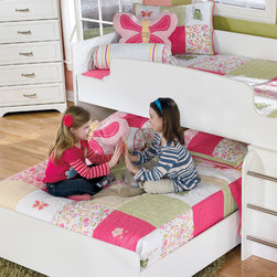 """Bunk Beds - The light airy cottage design of the """"Lulu"""" youth bedroom collection features a replicated white paint finish flowing beautifully over the grooved panels and embossed bead framing to make this innovative furniture an inviting addition to any child's bedroom."""
