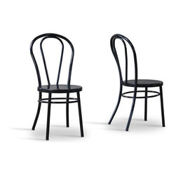 Baxton Studio - Baxton Studio Saxony Steel Contemporary Dining chair-Set of 2 - Stately and subdued all at the same time, our Saxony Steel Contemporary Dining chair delivers on the promise of modern furniture that extends beyond mere fad. Glossy black exterior and powder-coated steel construction combine to create a curvaceous and completely contemporary design.